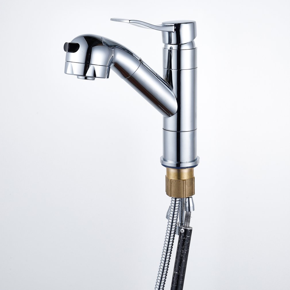 Durable Household Sink Faucet Fashion Hot Cold Water Tap Spring Type Chrome Finish Brass Pull Out FaucetDurable Household Sink Faucet Fashion Hot Cold Water Tap Spring Type Chrome Finish Brass Pull Out Faucet
