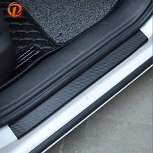 POSSBAY 4Pcs Universal Car Styling Sticker Carbon Fiber Door Sill Scuff Plate Guards Protector Accessories