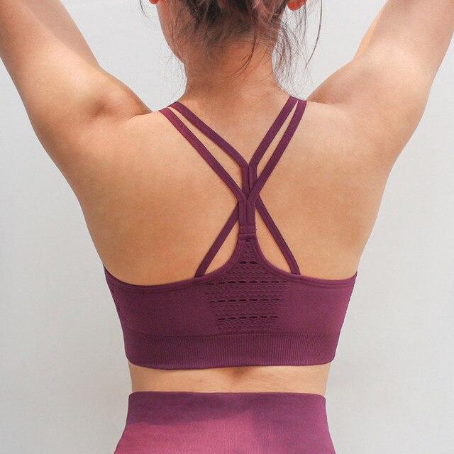33bb9a6e0e575 Women Energy Seamless Sports Bra Hollow out Racerback workout Yoga bra  Padded Wireless Brassiere Cross back