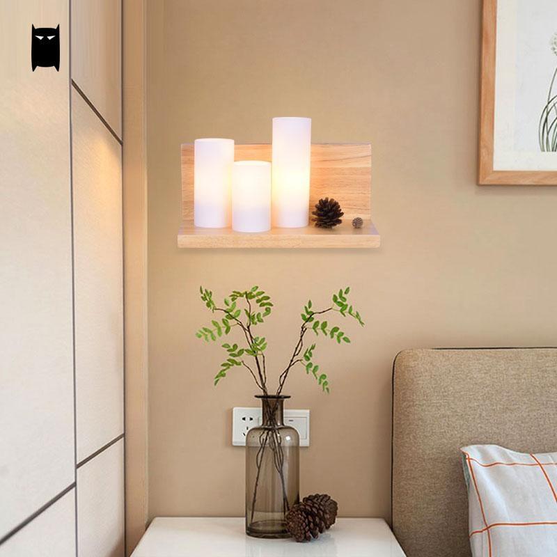Wood Glass Wall Light Fixture Korean Modern Nordic Rustic