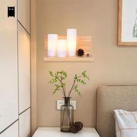 Wood Glass Wall Light Fixture Korean Modern Nordic Rustic Art Shelf Sconce Lamp Luminaria Home Hallway Staircse Bedroom Bedside