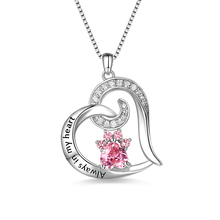 Wholesale Custom Paw Print Jewelry Always In My Heart Birthstone Memorial Dog&Cat Print Necklace michael capuzzo cat caught my heart