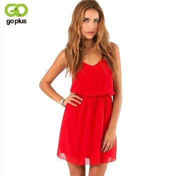 0d55bb77f3 GOPLUS 2019 estilo de verano Chiffon vestido de fiesta casuales de las  mujeres V cuello Vestido de playa sin mangas Rojo Negro Mini dulce vestidos  tamaño
