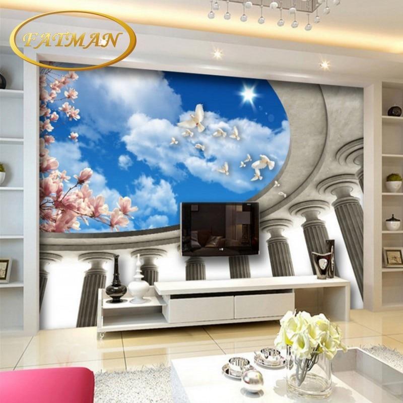 US $10.64 35% OFF|Benutzerdefinierte 3D fototapete blauen himmel weißen  wolken himmel wall tv hintergrund tapete schlafzimmer wohnzimmer wandbild  ...
