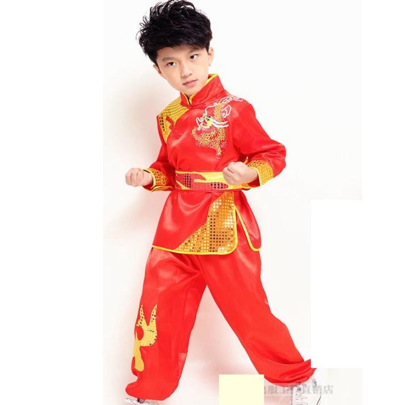 Long Sleeve Children's Kung Fu Competition Uniforms Drum Costume Suit