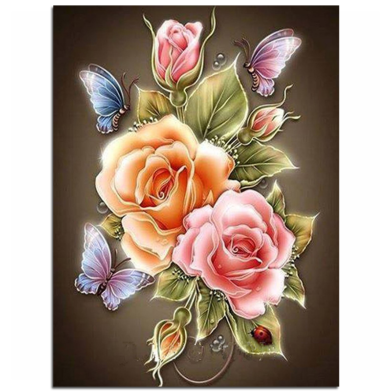 زهور الفراشة روز الراتنج كامل الماس ديي اللوحة الماس الفسيفساء الخرز والتطريز هدية صنع أدوات الماس نمط zx