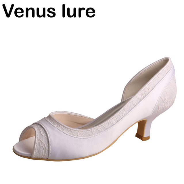 Wedopus Women White Open Toe Pumps Small Heel D orsay Wedding Pumps Ivory  Lace and Satin bd55bd1a1786