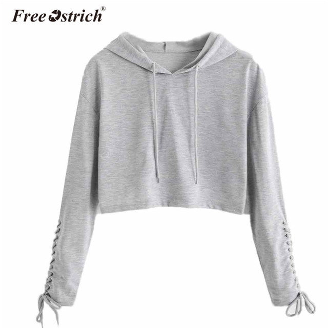 Free Ostrich Sweatshirt Women Lace Up Short Hoodies Long Sleeve Casual Solid Crop Top Pullovers Women Tops L1530