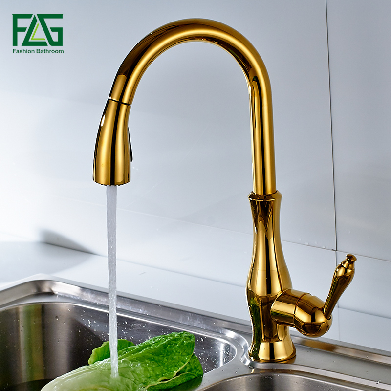 Luxury Brass Bold Finishing Bathroom Gold Colour Swan Neck Shape Water Tap Deck-mounted Single Hole Basin Faucet Sink Mixer