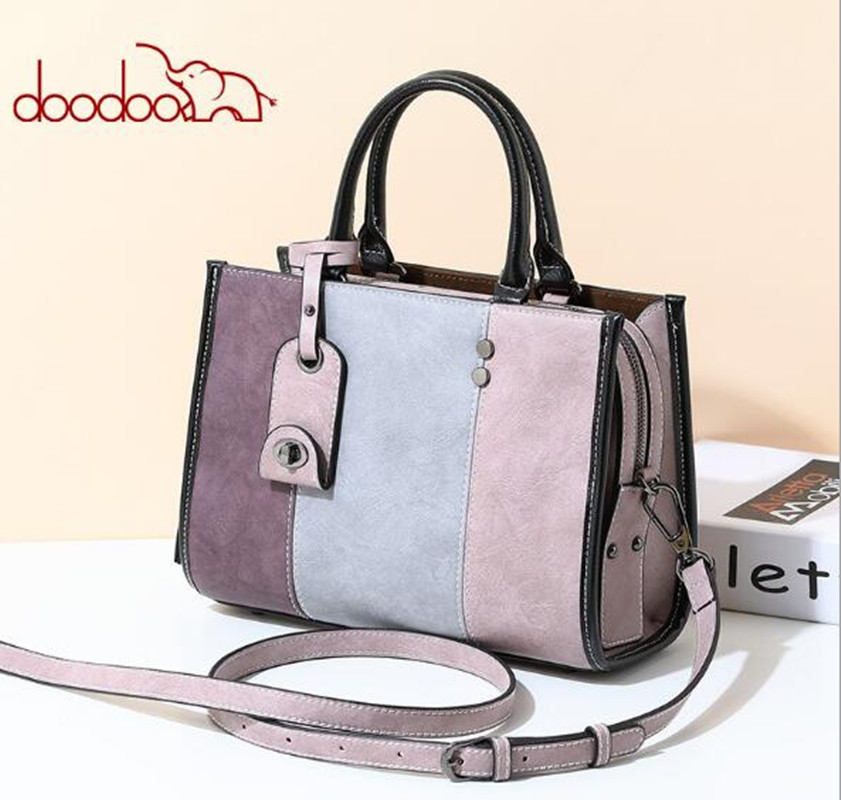 DOODOO Female Shoulder Bag PU Leather women handbag Vintage Messenger Bag Intelligent anti-lost Crossbody Bags Patchwork  FR612 women floral leather shoulder bag new 2017 girls clutch shoulder bags women satchel handbag women bolsa messenger bag