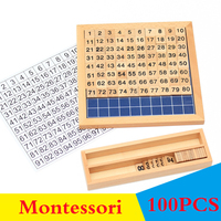 100PCS Babys Math Toys Montessori Wooden Digital Teaching Aids Math Toy 100 Wooden Block Learning Educational Toys For Kids