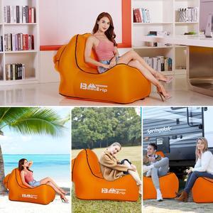 Image 5 - 아니 펌프 필요 야외 빠른 풍선 공기 의자 lounger hangout 휴대용 경량 캠핑 비치 바람 가방 공기 소파 소파