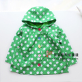 FREE SHIPPING - children/kids/girls/baby green polka dots jacket,  spring/summer jacket, thin jacket, waterproof, size 12M to 5Y