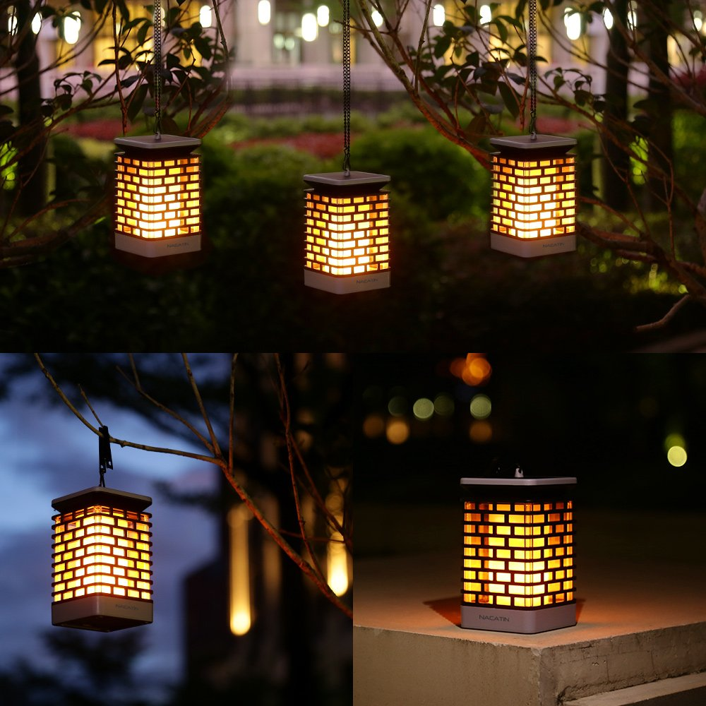 Waterproof LED Solar Flame Light Garden Lights Wall Lamp Outdoor Pathway Stairs Lighting Security Light Hanging Solar Lantern
