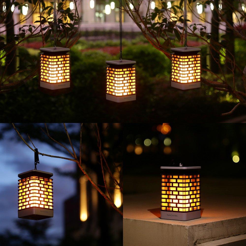 Waterproof LED Solar Flame Light Garden Lights Wall Lamp Outdoor Pathway Stairs Lighting Security Light Hanging Solar Lantern