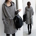 Maternity clothing top with a hood medium-long thickening cardigan autumn and winter plus size outerwear female sweater