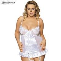 Plus Size Desgaste Do Sexo das Mulheres Sexy Roupa de Dormir Babydoll Branco Vestido lingerie Camisola Baby Doll Lingerie Sexy XL XXL 3XL 4XL 5XL