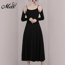 Max Spri 2019 New Collection Cold Shoulder Long Sleeves Office Lady One-Piece A Line Simple Ankle-Length Women Party Dress Black black cut out cold shoulder half sleeves dress