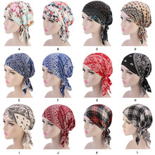 New Muslim Women Cotton Print Pre Tied Turban Hat Cancer Chemo Beanies Caps Headwear Head Wrap Bonnet Hair Loss Accessories