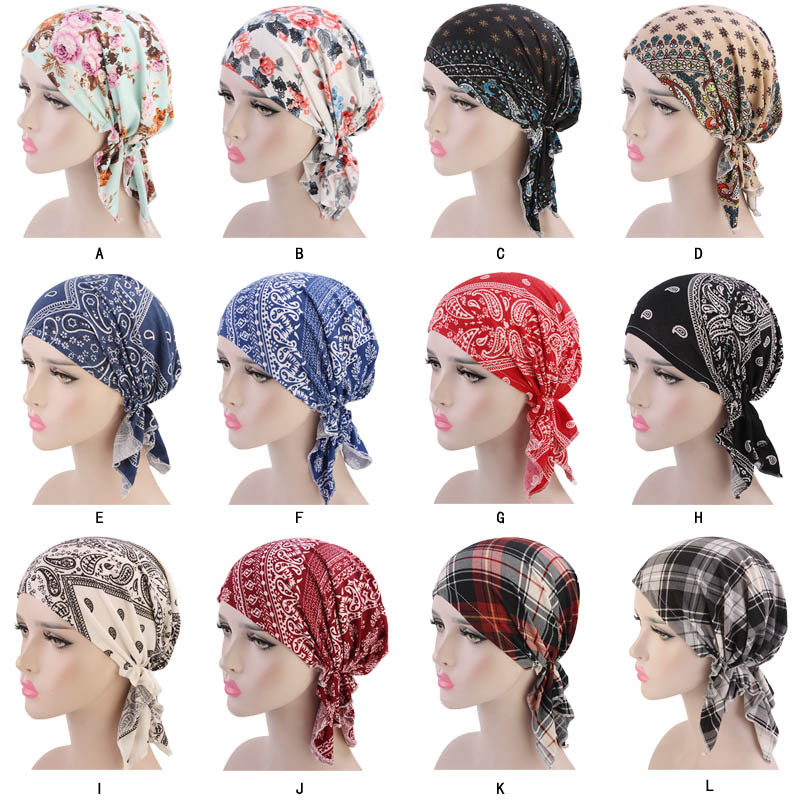 New Muslim Women Cotton Print Pre-Tied Turban Hat Cancer Chemo Beanies Caps   Headwear   Head Wrap Bonnet Hair Loss Accessories