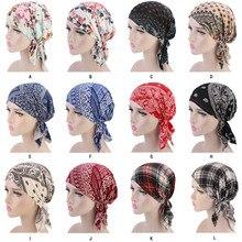 Yeni müslüman kadın pamuklu baskı önceden bağlı türban şapka kanser kemo kasketleri Caps şapkalar kafa Wrap Bonnet saç dökülmesi aksesuarları