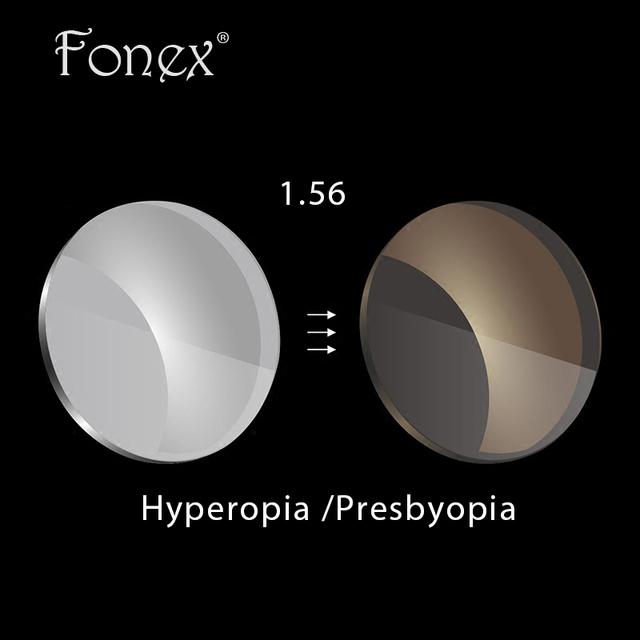 Fonex 1.56 superfície asférica cinza/brown lentes fotocromáticas Hipermetropia Presbiopia prescrição óculos de sol de lentes de proteção UV
