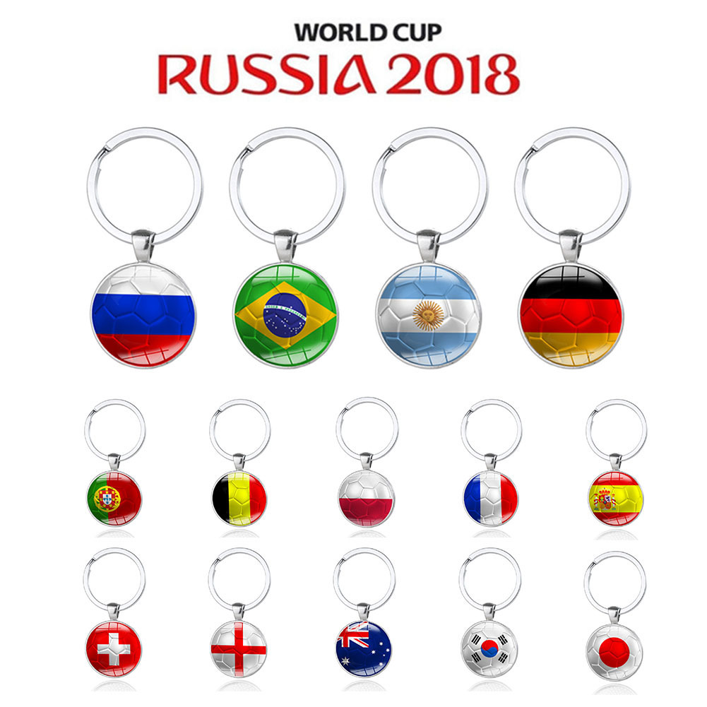 US $1 02 22% OFF 2018 Football Keychain 32 Teams Country Russia Brazil  France Spain Flag Soccer Keyring Soccer Souvenir Home Decoration-in  Figurines &