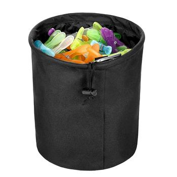 High capacity Clothespins Storage Cylinder Bag with Hook and Drawstring Round Bucket Clothing