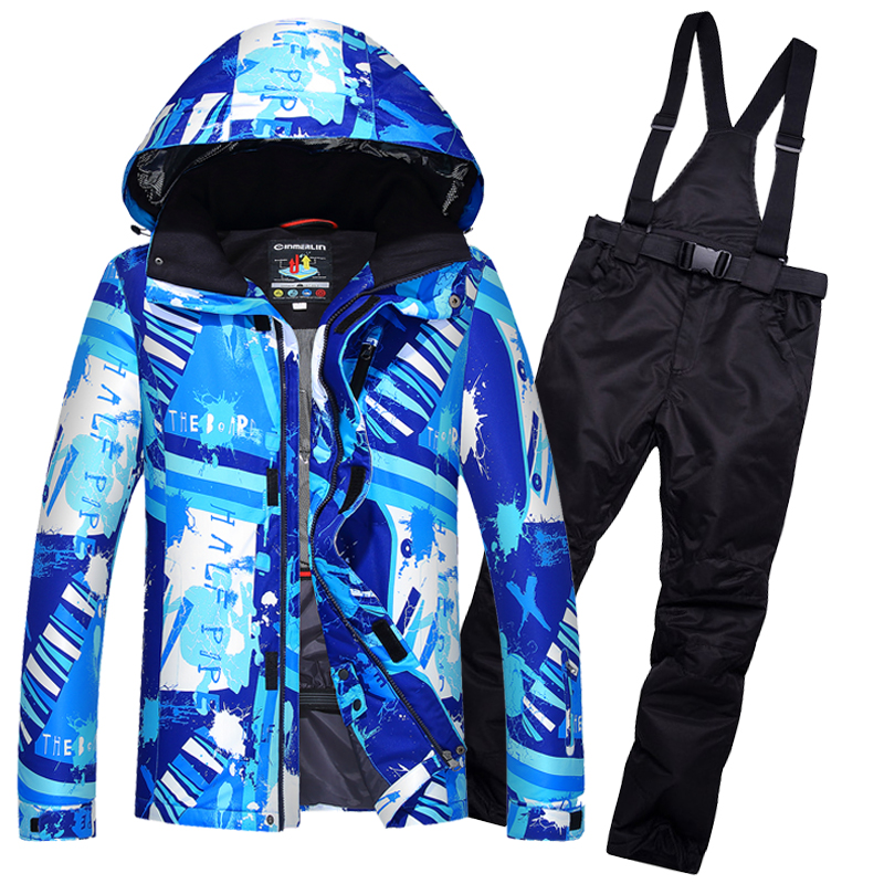 2017 New Men Snow Ski Suit Windproof Waterproof Breathable Men's Snowboard Jackets Clothes Winter Skiing Jacket And Pants 2017 new women snow ski suit windproof waterproof breathable women s snowboard colorful clothes winter ski jacket and pants