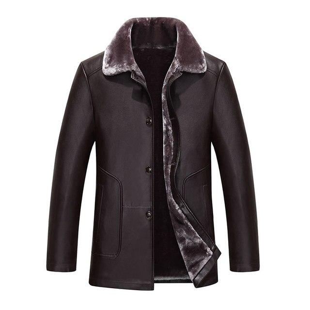 2016 новая зимняя мужская turn down меховой воротник толщиной flleece кожаное пальто однобортный овец кожаная куртка теплое пальто