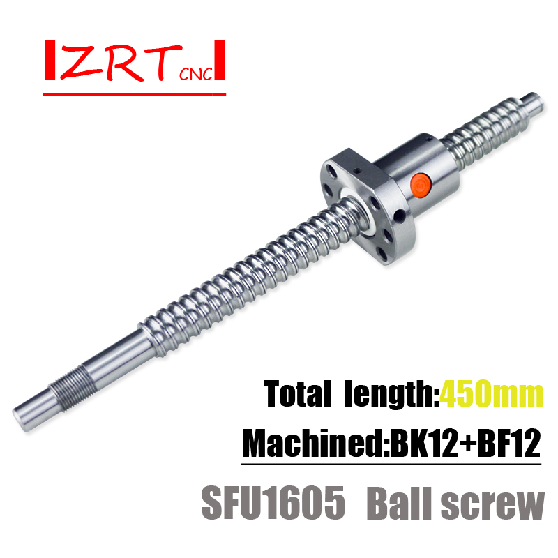 ZRT Ballscrew SFU1605 450 mm ball screw with flange single ball nut BK/BF12  end machined CNC parts-in Linear Guides from Home Improvement on  Aliexpress.com ...
