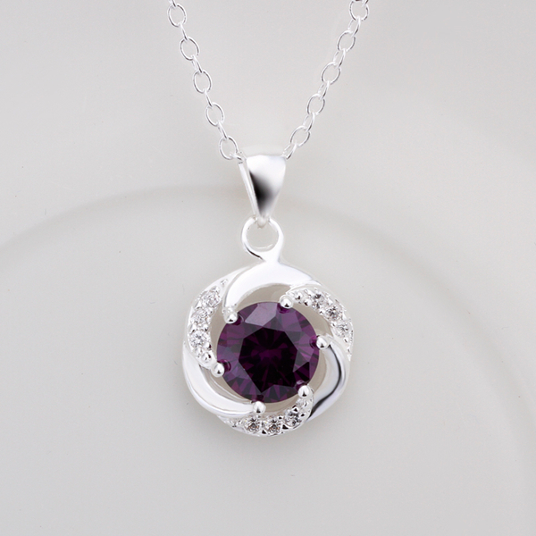 2016 New Top Quality Silver Plated & Stamped 925 Rotation round tag with purple stone pendant necklace for women jewerly