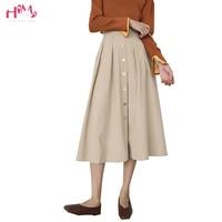 Womens Autumn Long Skirts Vintage Knee Length Korean Elegant Button High Waist A line Skirt Female Preppy Style Pleated Skirts