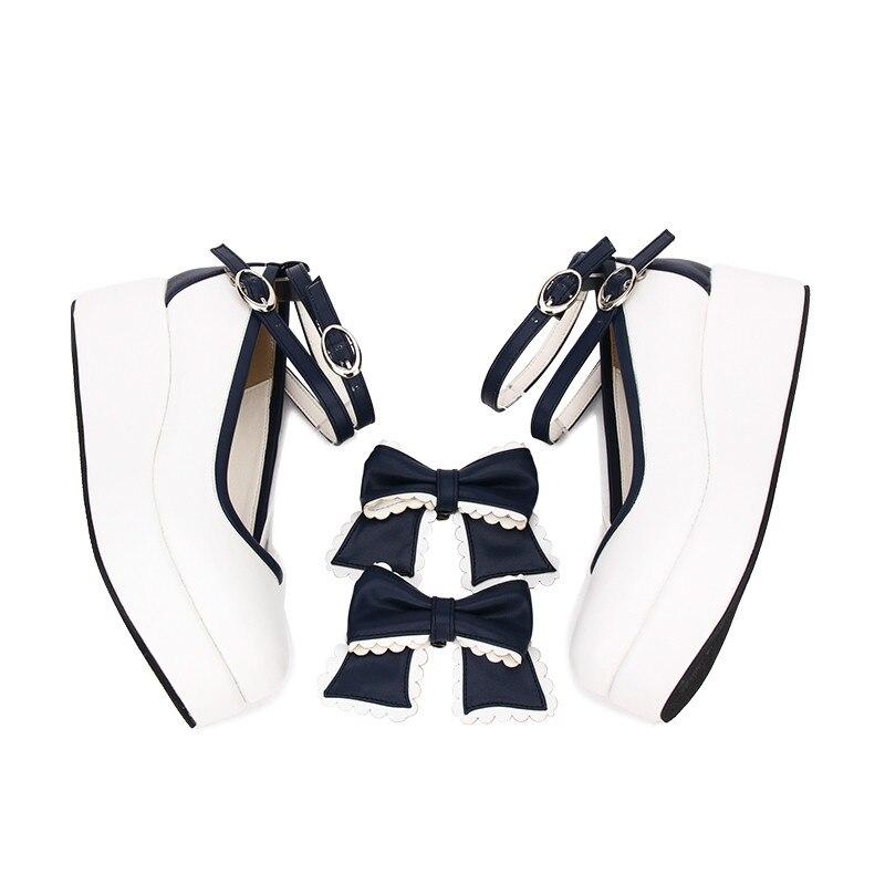 Avec Lolita Chaussures Vent Princesse Ciel Punk Sœur Doux Femmes Épais Tête Muffin Bleu Pu8843 Fond Collège Quotidienne pu wnX1nIfxq