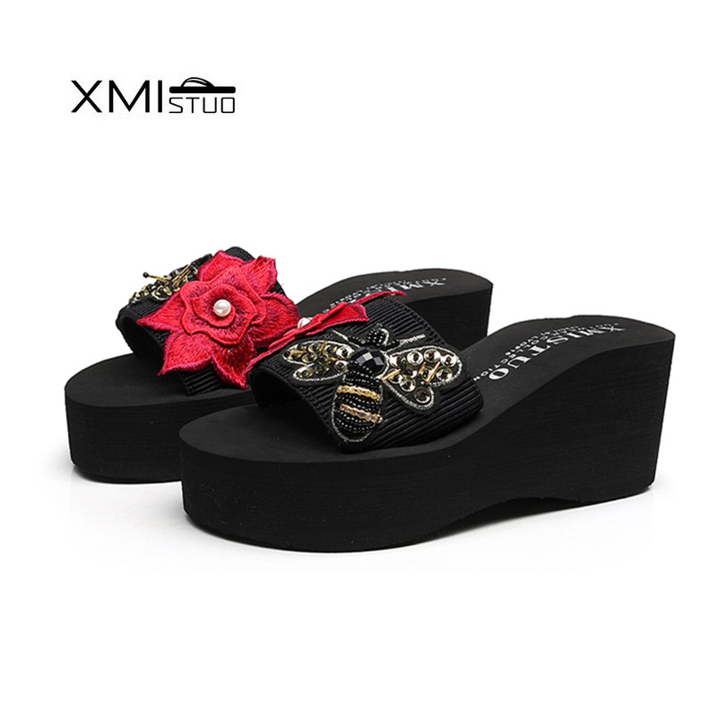 XMISTUO Women Slippers Female Summer Beach Ladies Sandals sandalias mujer zapatos 3CM Low heeled Slippers 2 Color 7208 in Slippers from Shoes