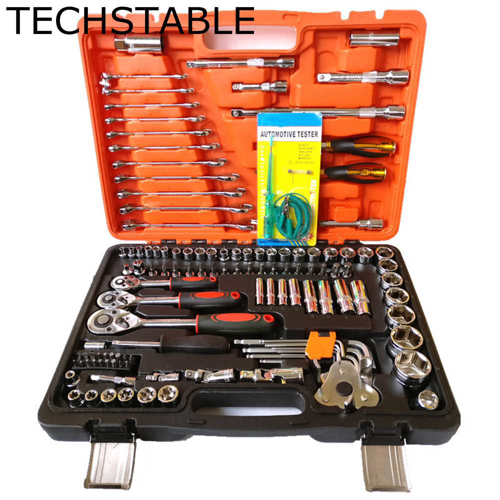 TECHSTABLE Car Repair Tool Sets Combination Tool Wrench Set 121 PCS Batch Head Ratchet Pawl Socket Spanner Screwdriver car repair tool 46 unids mx demel 1 4 inch socket car repair set ratchet tool torque wrench tools combo car repair tool kit set