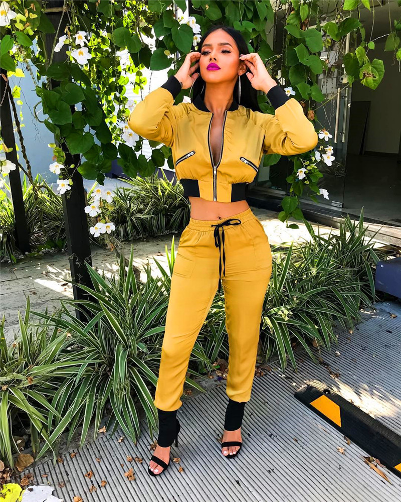 Plus Size Tracksuit Women Set Sweat Suits Yellow Bomber Jacket Top and Pants Set Ladies Walking Leisure Suits Two Piece Outfits