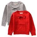 Quente grossa Camisola Baby Girl Red & Grey Manga Comprida Crew-pescoço Da Criança Crianças Bowknot Pullover NY02MY
