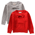 Thick Warm Sweater Baby Girl Red & Grey Long Sleeve Crew-neck Toddler Kids Bowknot Pullover NY02MY