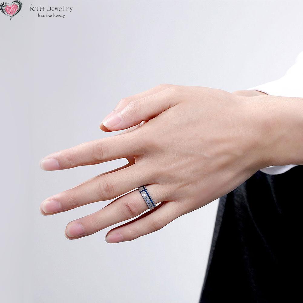 TGR096 New Listing Blue Titanium Steel Men\'s Ring Lovers Romantic ...
