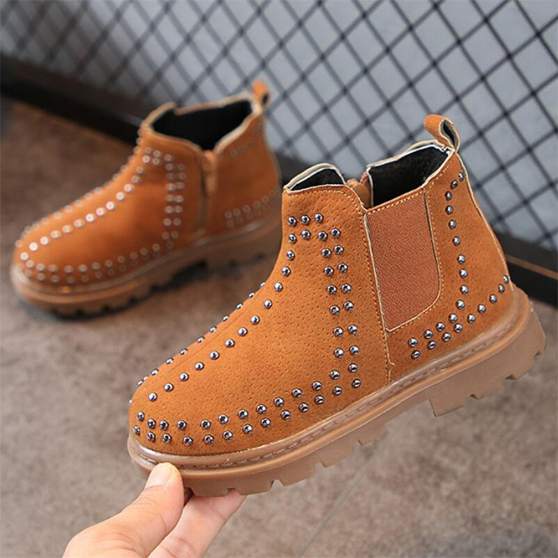 2019 Girls Leather Boots Boys Shoes Spring Autumn PU Leather Children Boots Fashion Rivet Toddler Kids Boots Warm Winter Boots
