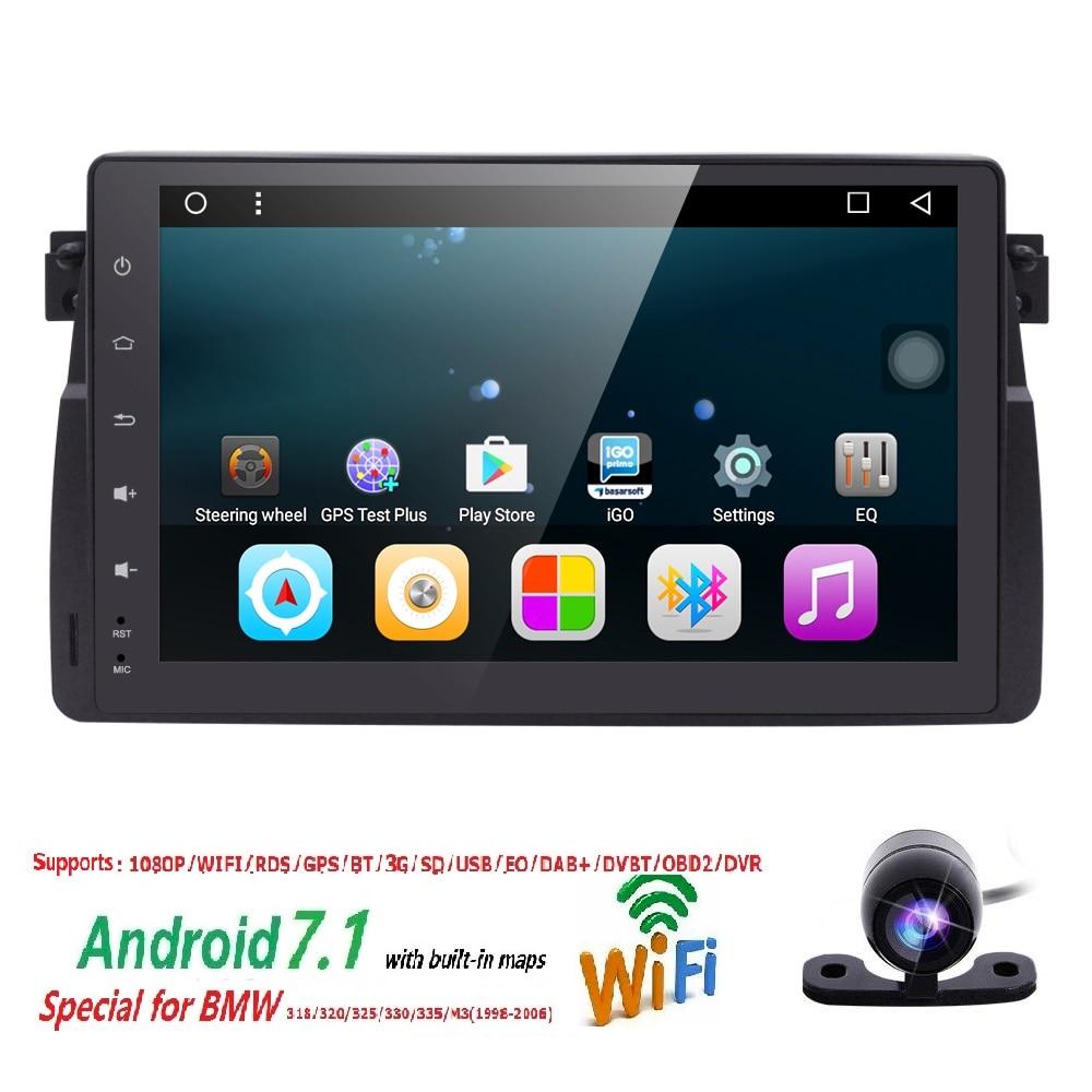 9Screen Android7.1 Car Radio for BMW E46 M3 318i 320i 325i with MirrorLink No DVD auto multimedia Stereo Navi RDS DVR SWC BT SD