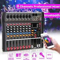 CLAITE 8 Channel Sound Mixing Console bluetooth USB Record Computer Playback Phantom Power Effect 8 Channels USB Audio Mixer