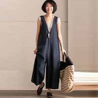Wide Leg Trousers Women Vintage Bib Overalls Sleeveless Strappy Dungarees Solid Loose Rompers Jumpsuits Pants Plus