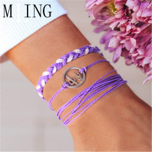 MLING 3 Pcs/Set Vintage Cactus Bracelet Set For Women Charm Purple Rope Chain Fashion Jewelry Gifts