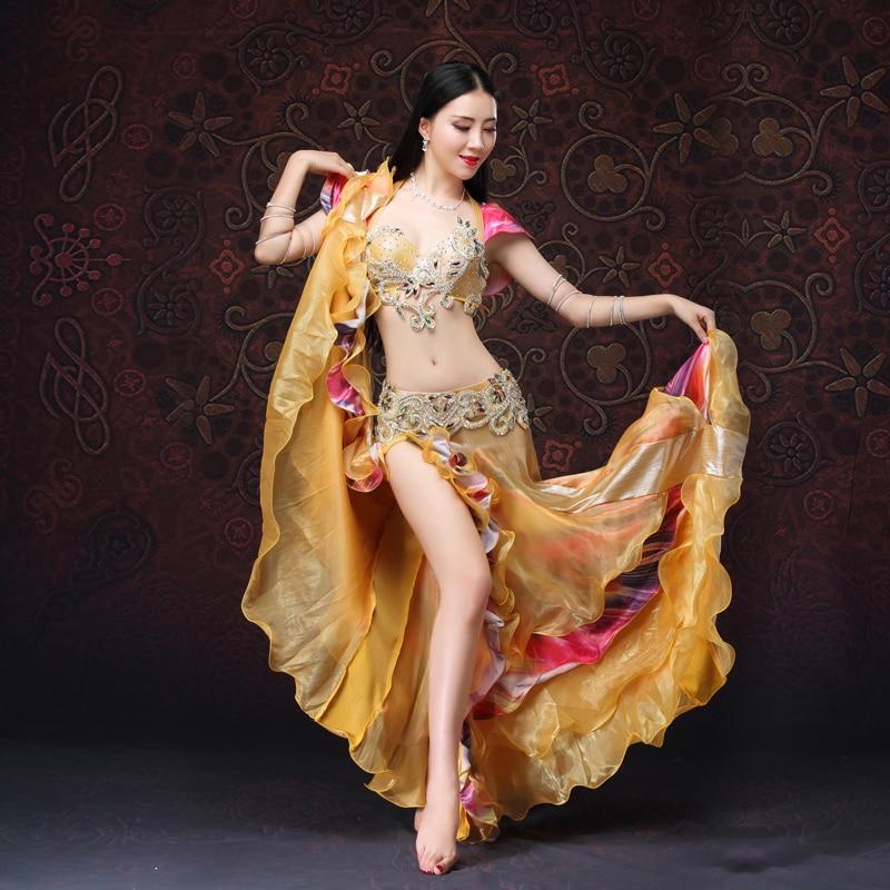 Women Dancewear Belly Dancing Clothes Oriental Dance Outfits Bra Belt Skirt Belly Dance Beaded Costume Golden