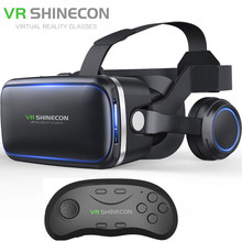 Vritual Reality Shinecon 6.0 Bluetooth Headset VR Glasses Helmet 3D Box For 4.5-6.0 Smartphones With Bluetooth Controller(China)