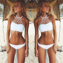 2017 New Arrival Summer Sexy Women Bikini Set Bandage Push-Up Padded White High Waist Swimwear Swimsuit Bathing Beachwear