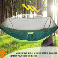 2 3 Person Outdoor Automatic Unfolding Mosquito Net Hammock Camping Travel Portable Double lifting Furniture Hammock 290 X 140cm|Hammocks| |  -