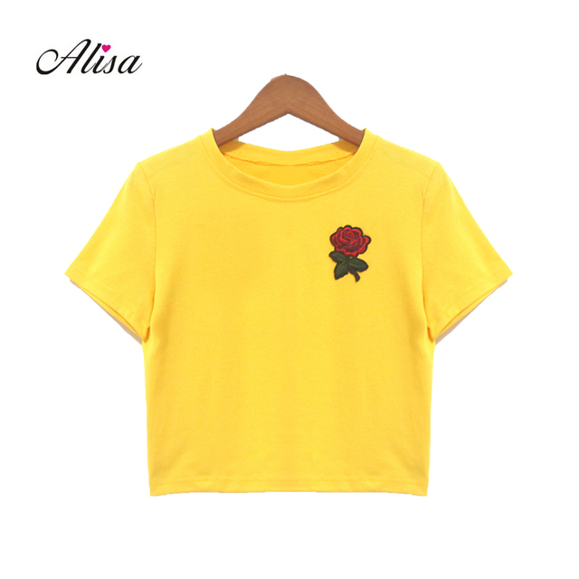 a97d5c102f50d0 2018 New Women Short Slim T Shirt Summer Fashion Solid Short Sleeve Casual  Harajuku Crop Top Rose Embroidery T-shirts Femme